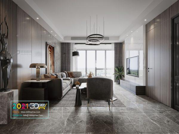 A011 Living Room Interior Scene V-Ray Render