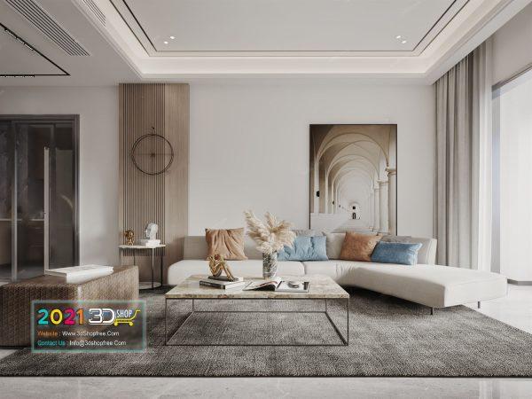 A013 Living Room Interior Scene V-Ray Render