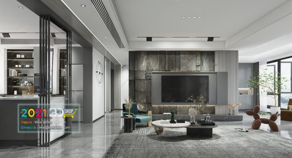 A016 Living Room Interior Scene V-Ray Render