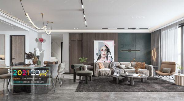 A019 Living Room Interior Scene V-Ray Render