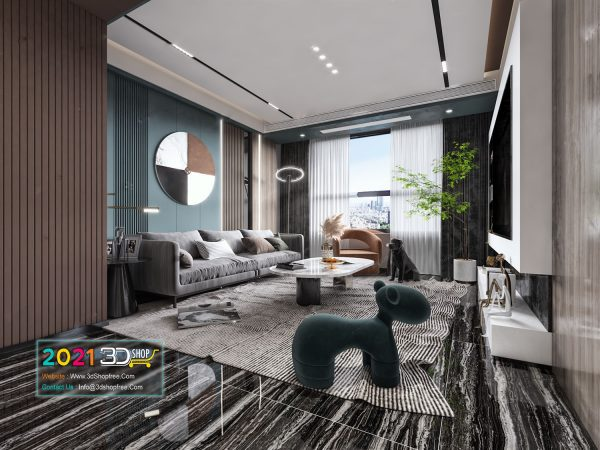 A024 Living Room Interior Scene V-Ray Render