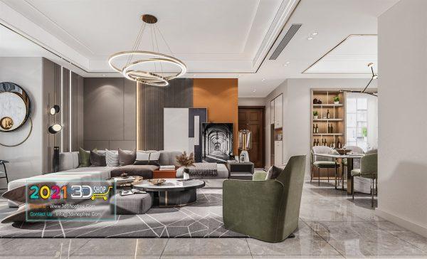 A026 Living Room Interior Scene V-Ray Render