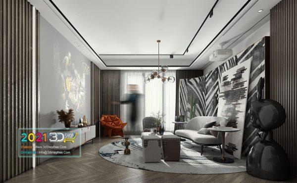 A027 Living Room Interior Scene V-Ray Render