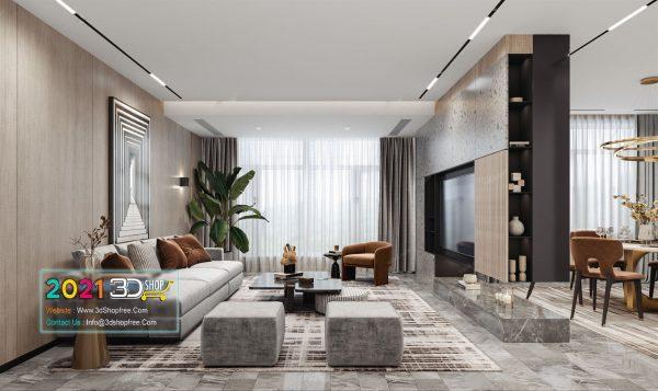 A031 Living Room Interior Scene V-Ray Render