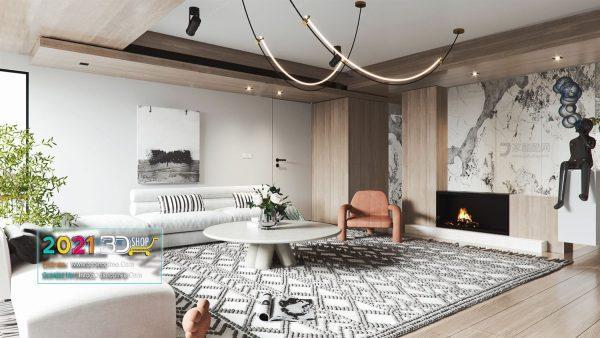 A039 Living Room Interior Scene V-Ray Render