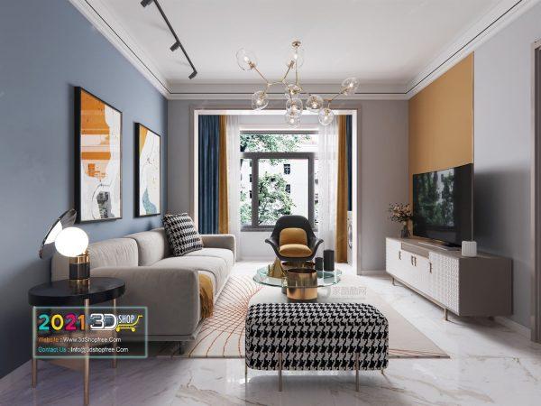 A040 Living Room Interior Scene V-Ray Render