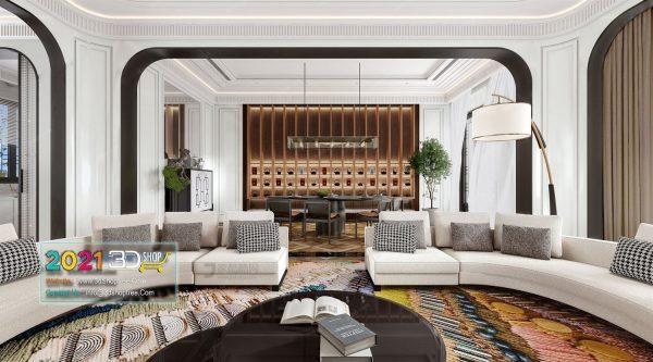 A044 Living Room Interior Scene V-Ray Render