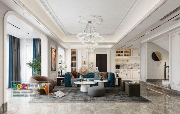 A049 Living Room Interior Scene V-Ray Render