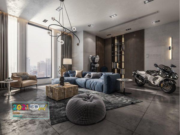 A053 Living Room Interior Scene V-Ray Render