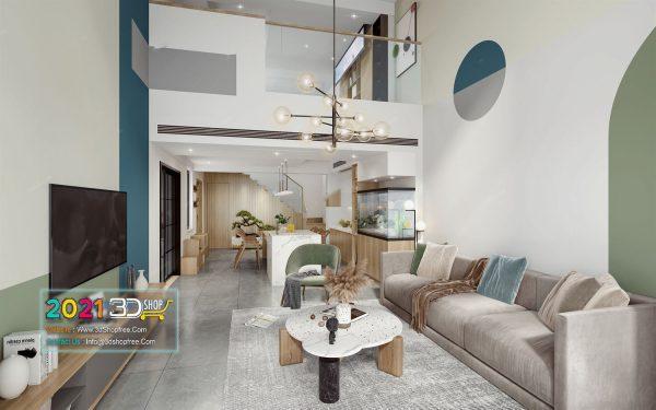 A055 Living Room Interior Scene V-Ray Render