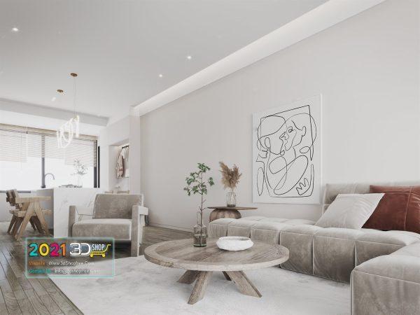 A057 Living Room Interior Scene V-Ray Render